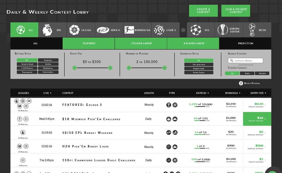Fantasy Sports Lobby/Dashboard